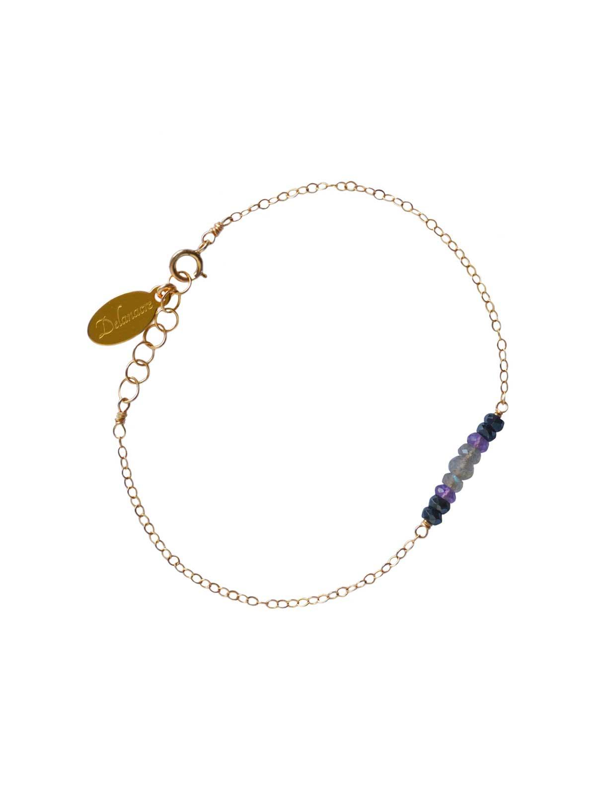 Bracelet in Gold-filled 14 Karat chain Labradorite Black Spinel Amethyst
