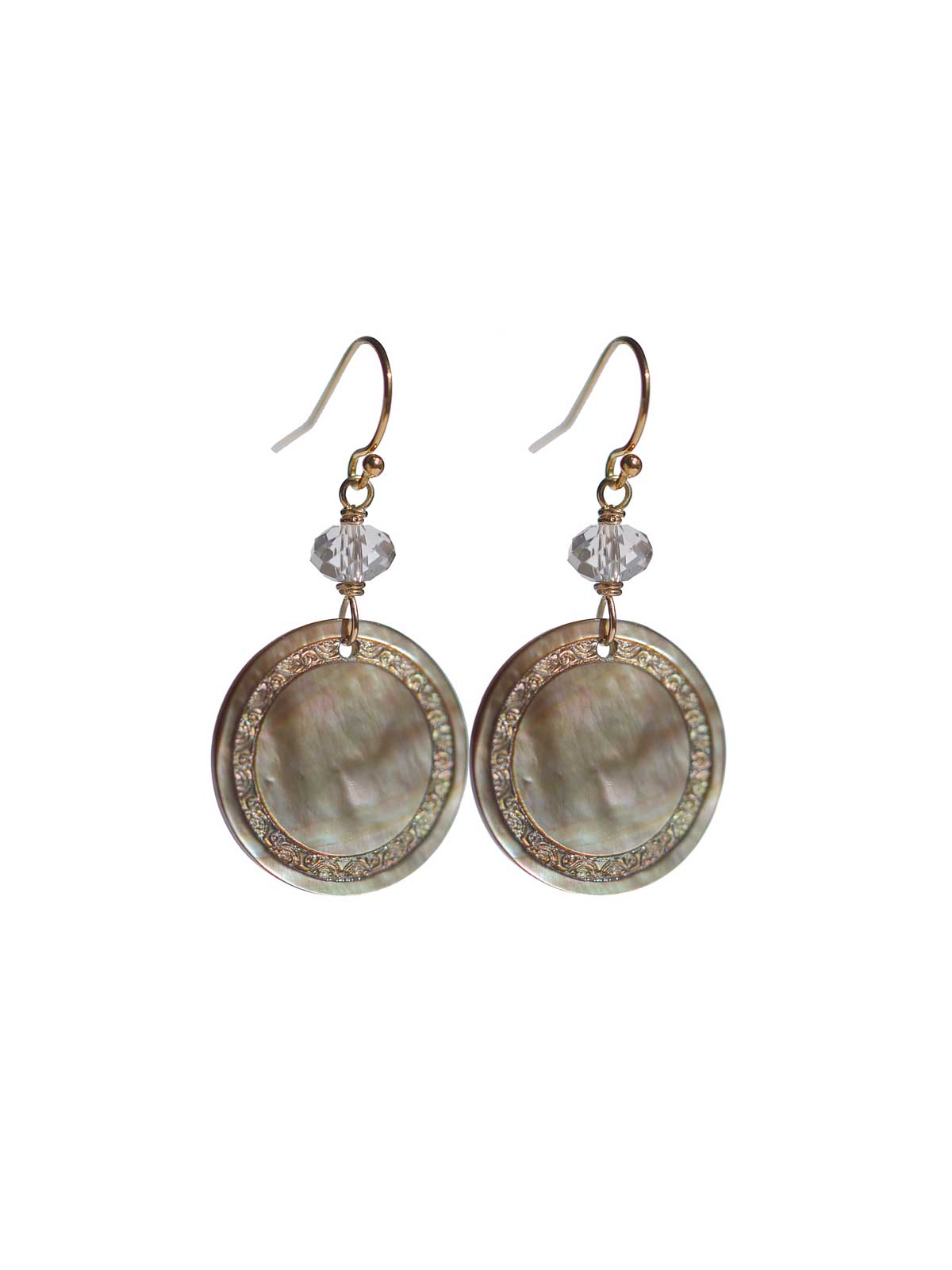 Earrings 14K Gold-filled Mother-of-pearl Swarovski Crystal