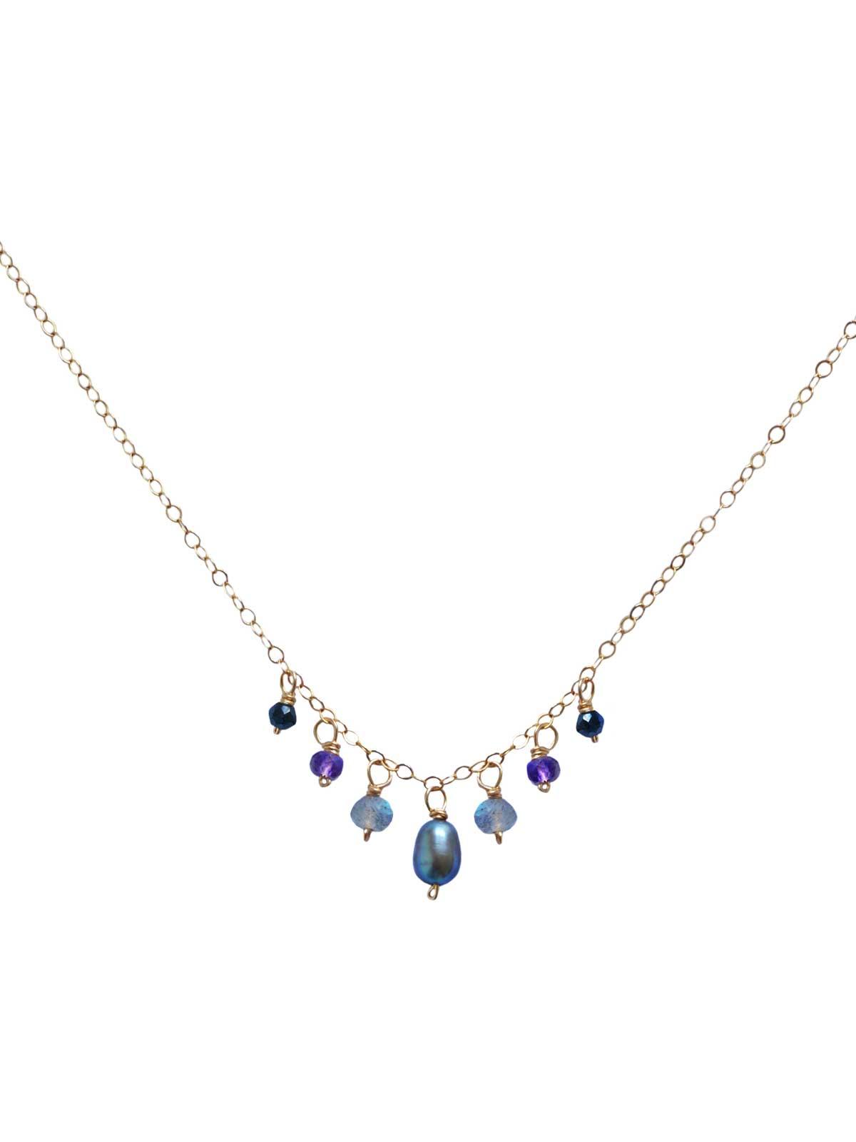 Collier chaîne Or 14 Carats Gold-filled Labradorite Spinelle Noir Améthystes perle d'eau douce grise