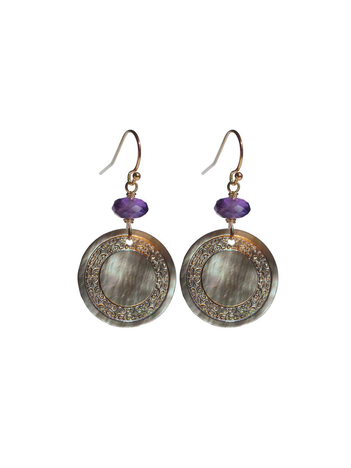 Earrings 14K Gold-filled Mother-of-pearl of Tahiti dark Amethyst