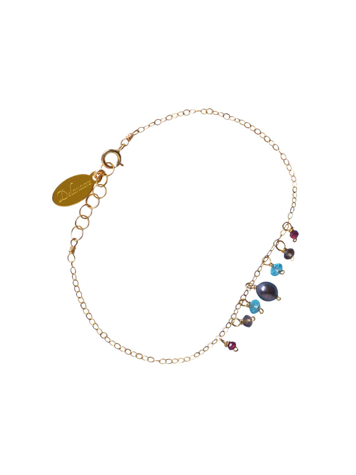Bracelet Gold-filled 14 Karat Smoky Quartz Apatite Garnet gray Freshwater Pearl
