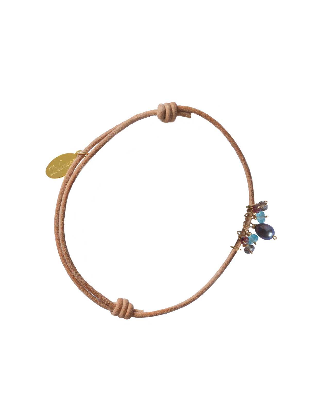 Bracelet Smoky Quartz Apatite Garnet gray Freshwater Pearl Gold natural leather link