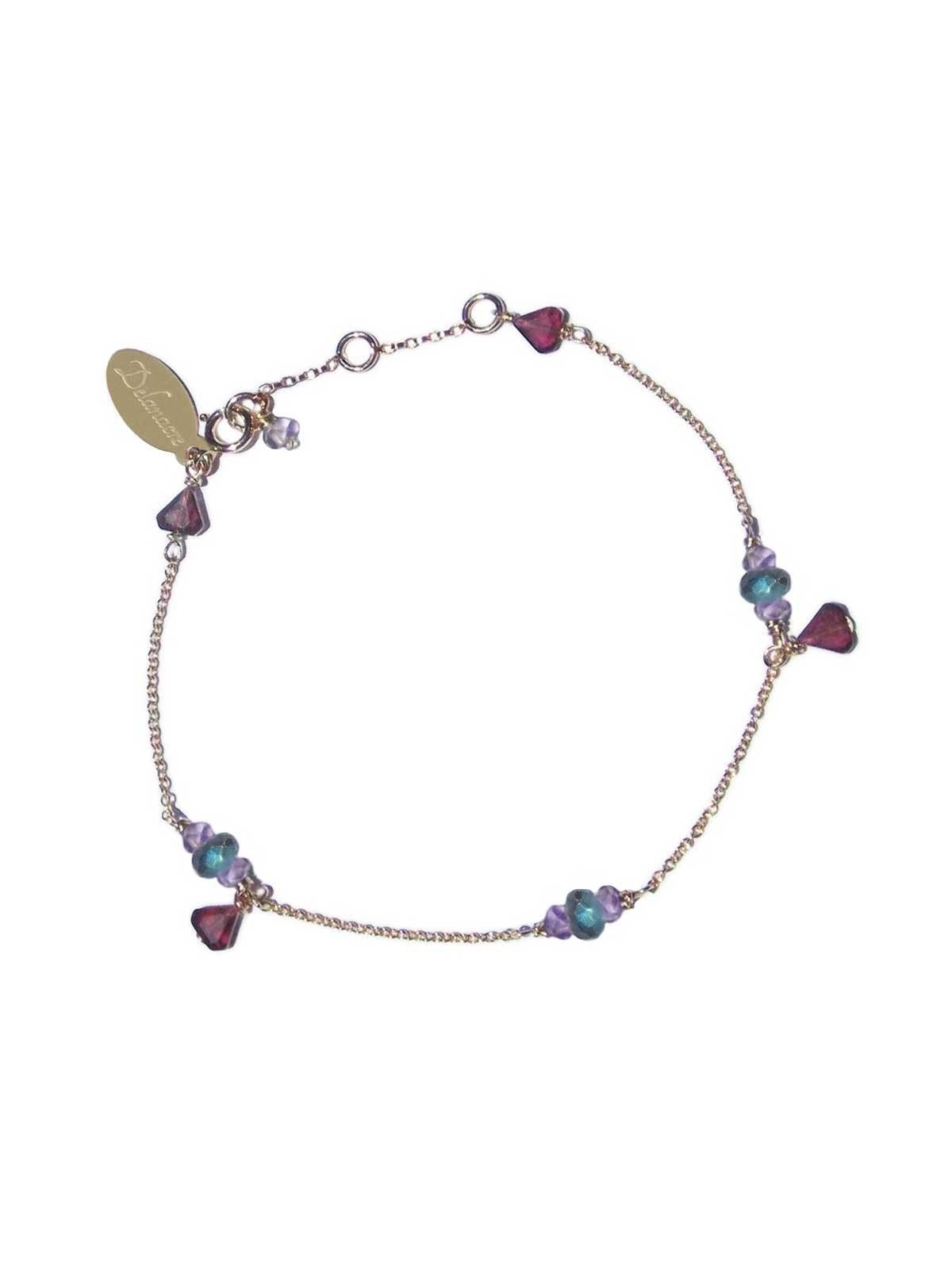 Bracelet Gold-filled 14 Karat chain, with Semi-precious stones : Garnet Amethyst Labradorite