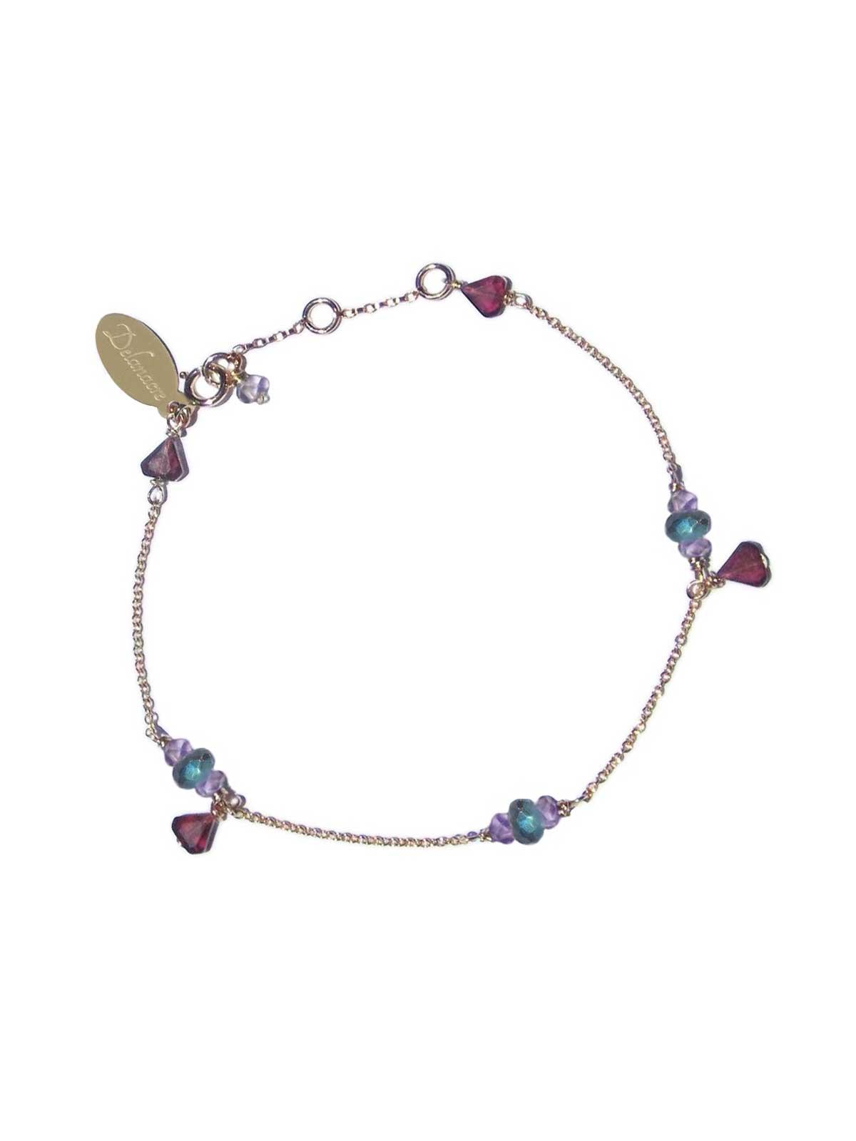 Bracelet chaîne Or 14 Carats Gold-filled, pierres Semi-précieuses facettées : Grenats Améthystes Labradorites
