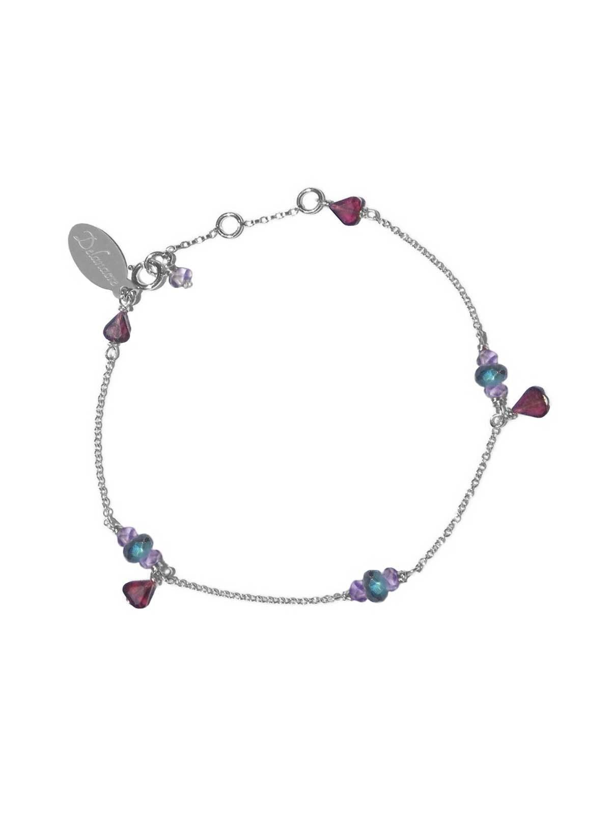Bracelet chaîne en Argent, Grenat, Améthyste et Labradorite