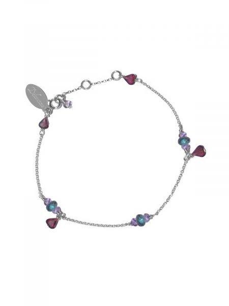 Bracelet Sterling Silver chain, Garnet, Amethyst and Labradorite