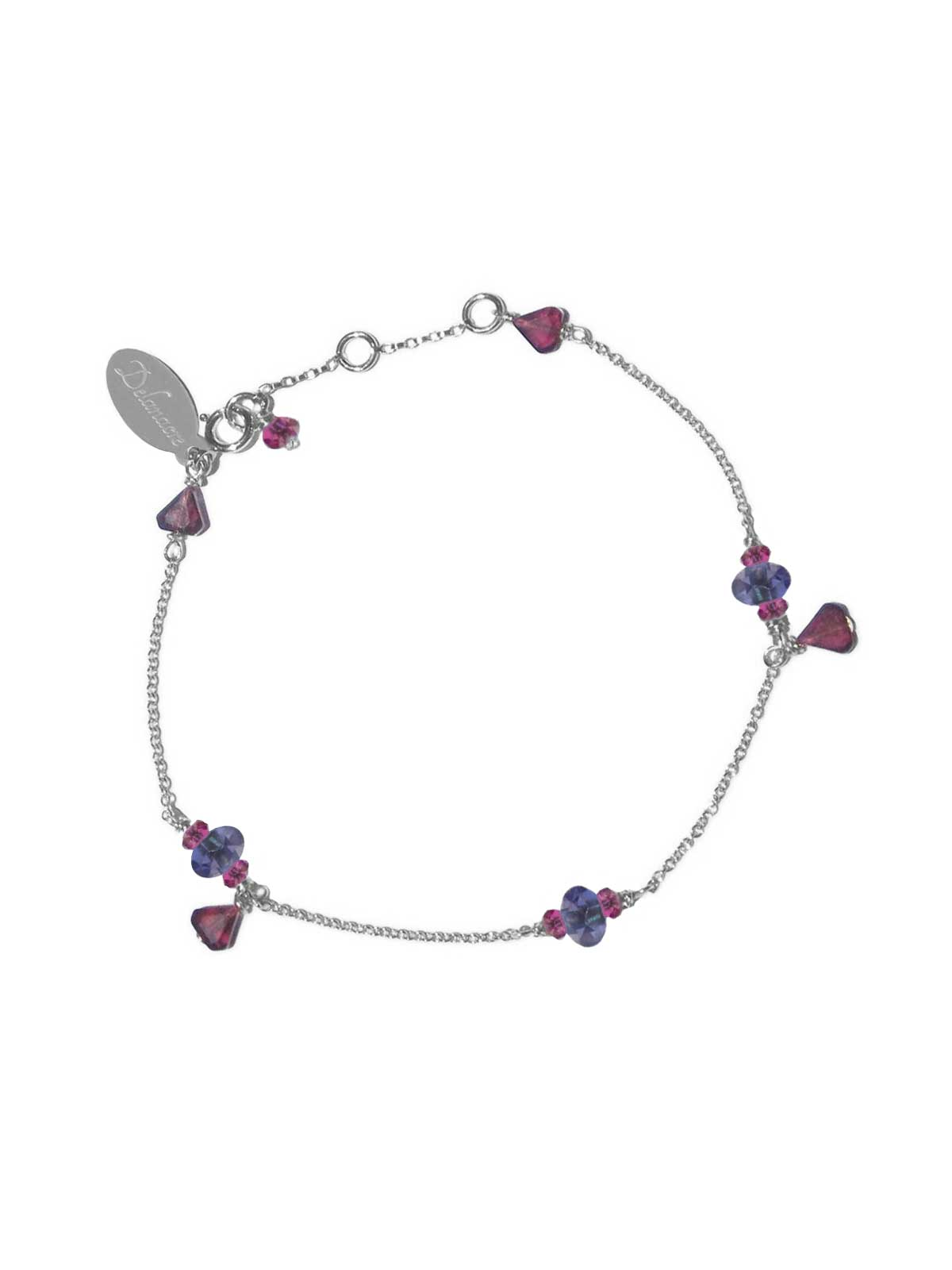 Bracelet Sterling Silver chain with Garnet and Iolite