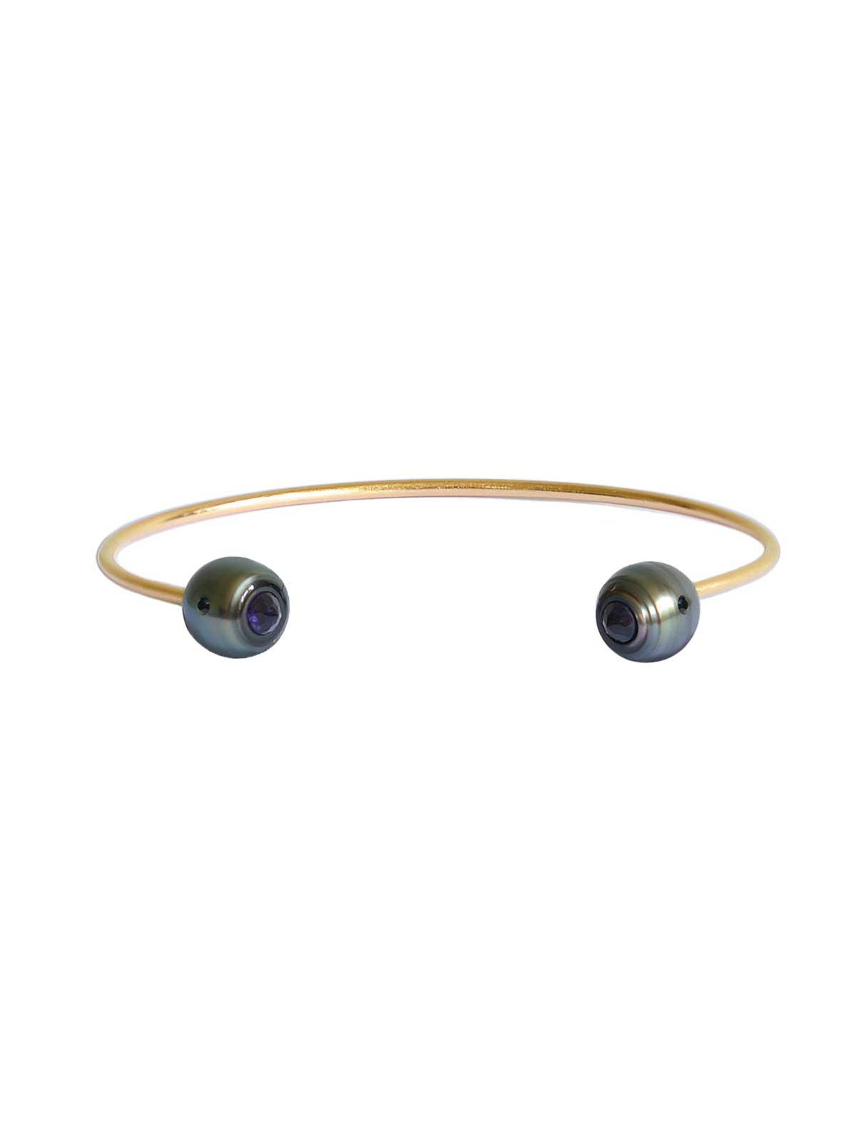 PANTHERE Jonc Bracelet Perle de Tahiti Améthyste Diamant noir