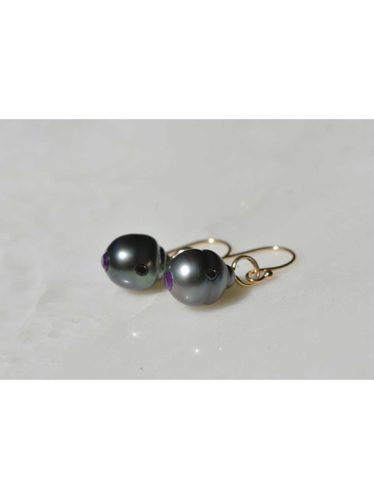 panthere earrings Tahitian Pearl Amethyst diamond 14K yellow gold
