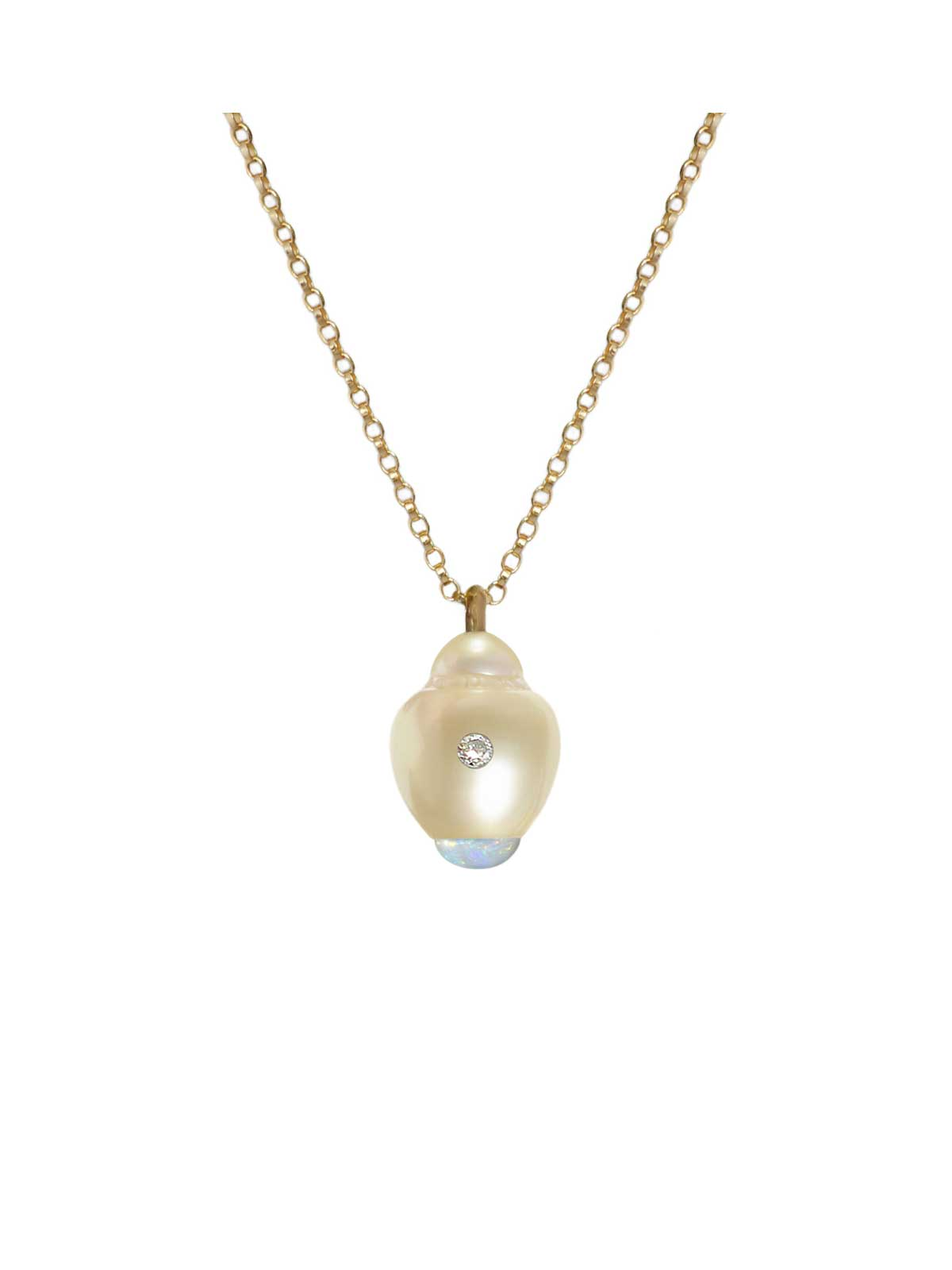 Porcelain pendant South Sea Pearl Opal Diamond