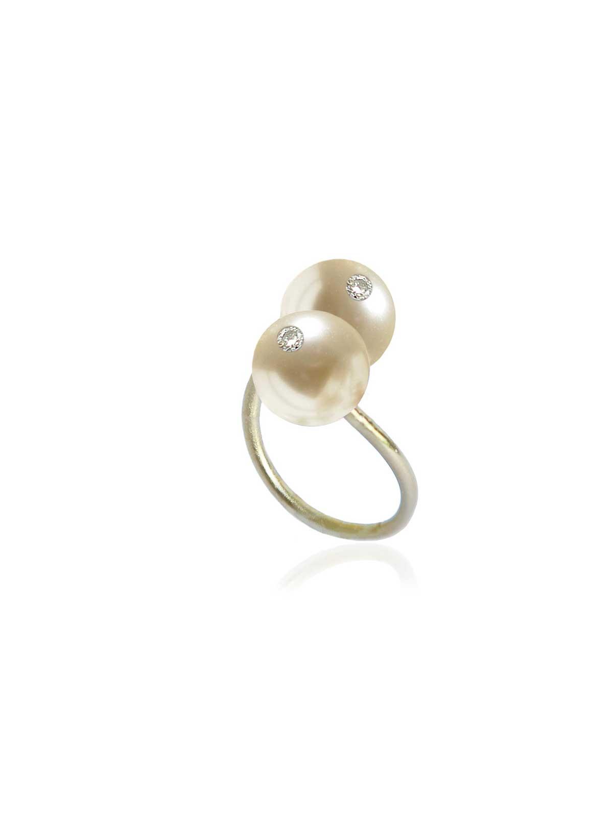 porcelaine bague Perle des mers du sud Diamant or jaune 14 carats