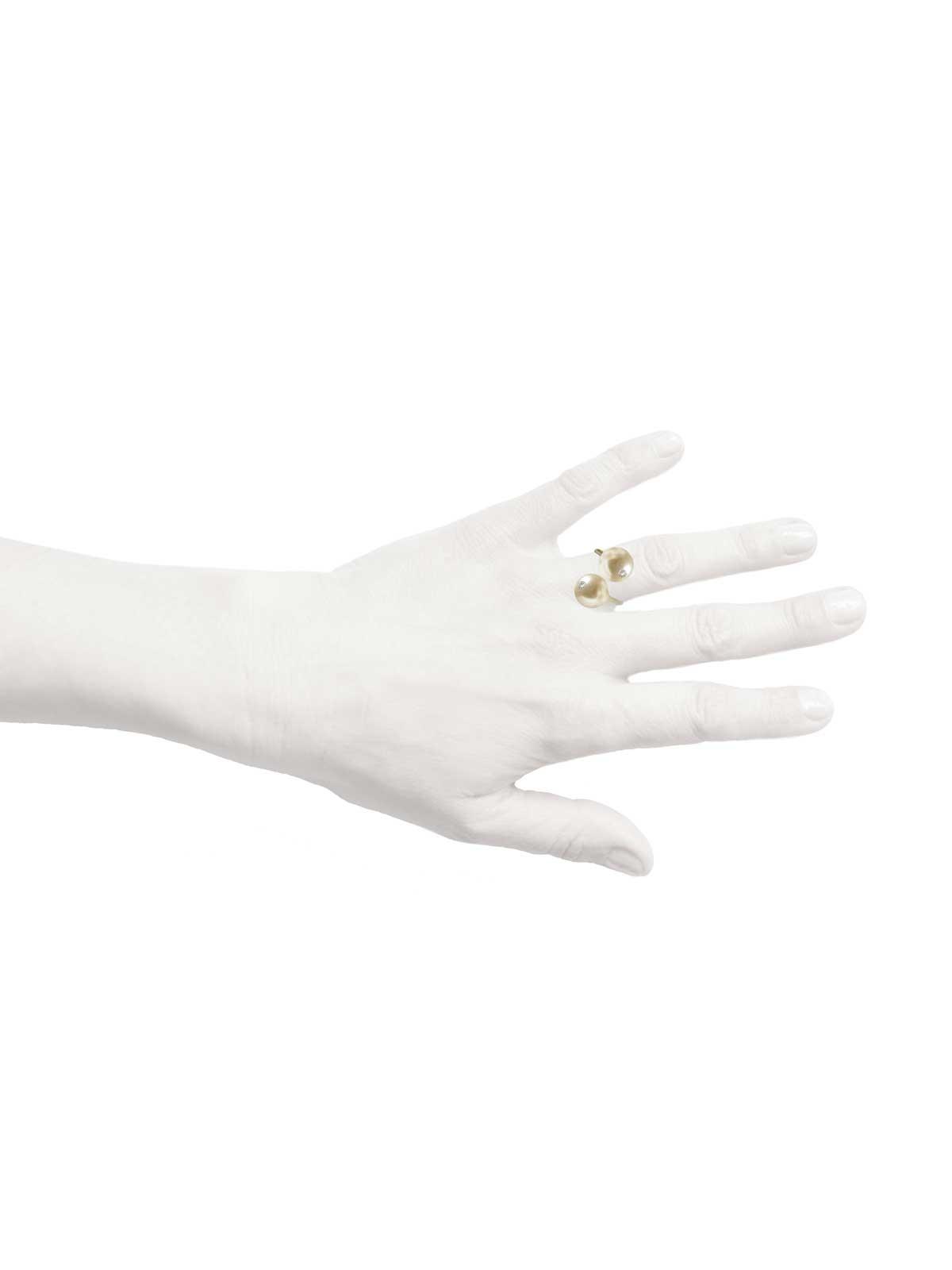 porcelain ring white South Sea Pearl Diamond 14K yellow gold