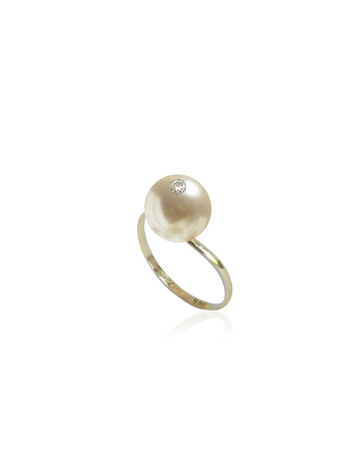 porcelain ring white South Sea Pearl Diamond 14K yellow gold