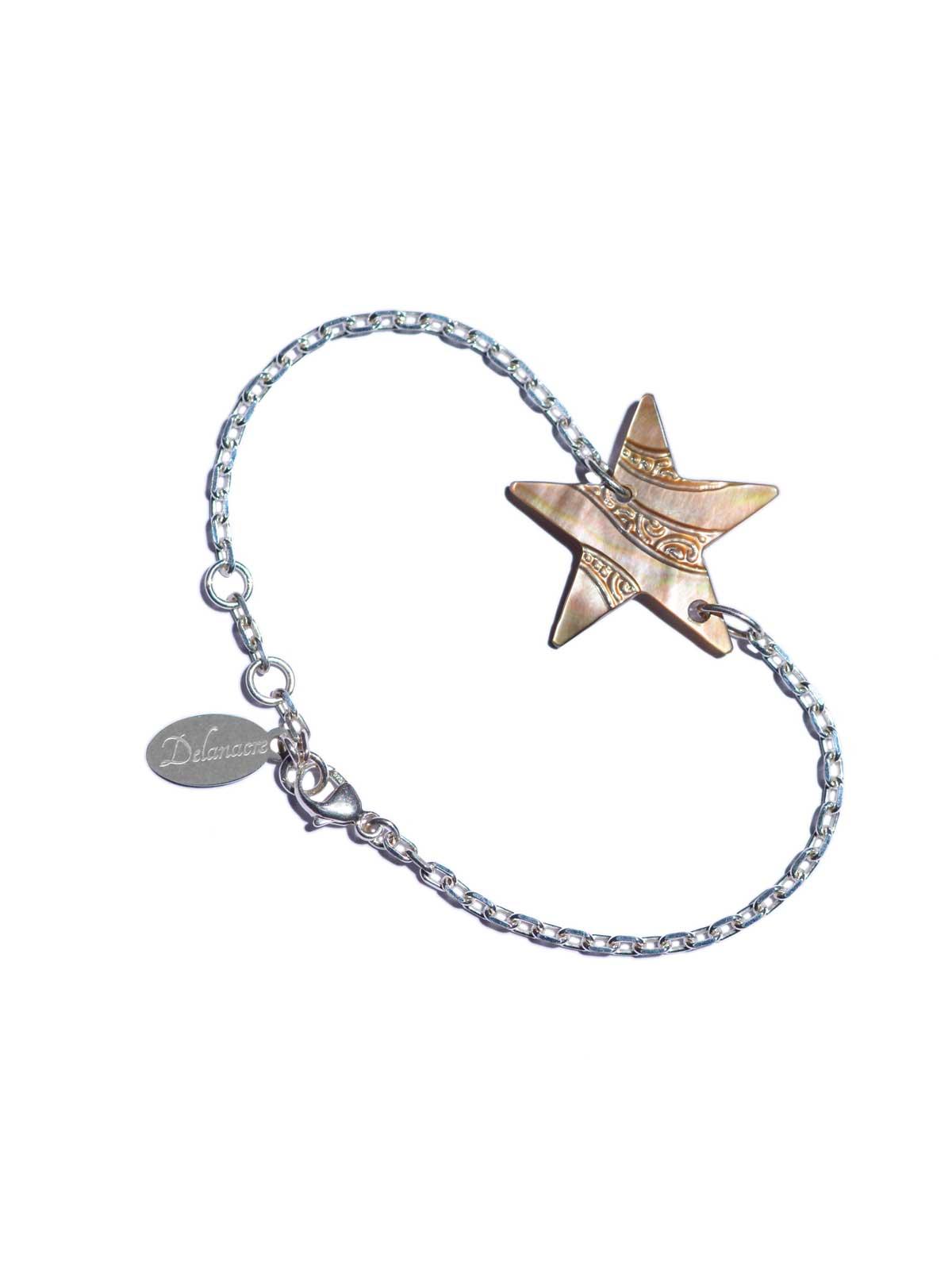 Bracelet Sterling Silver chain star in Mother-of-pearl of Tahiti Swarovski crystal