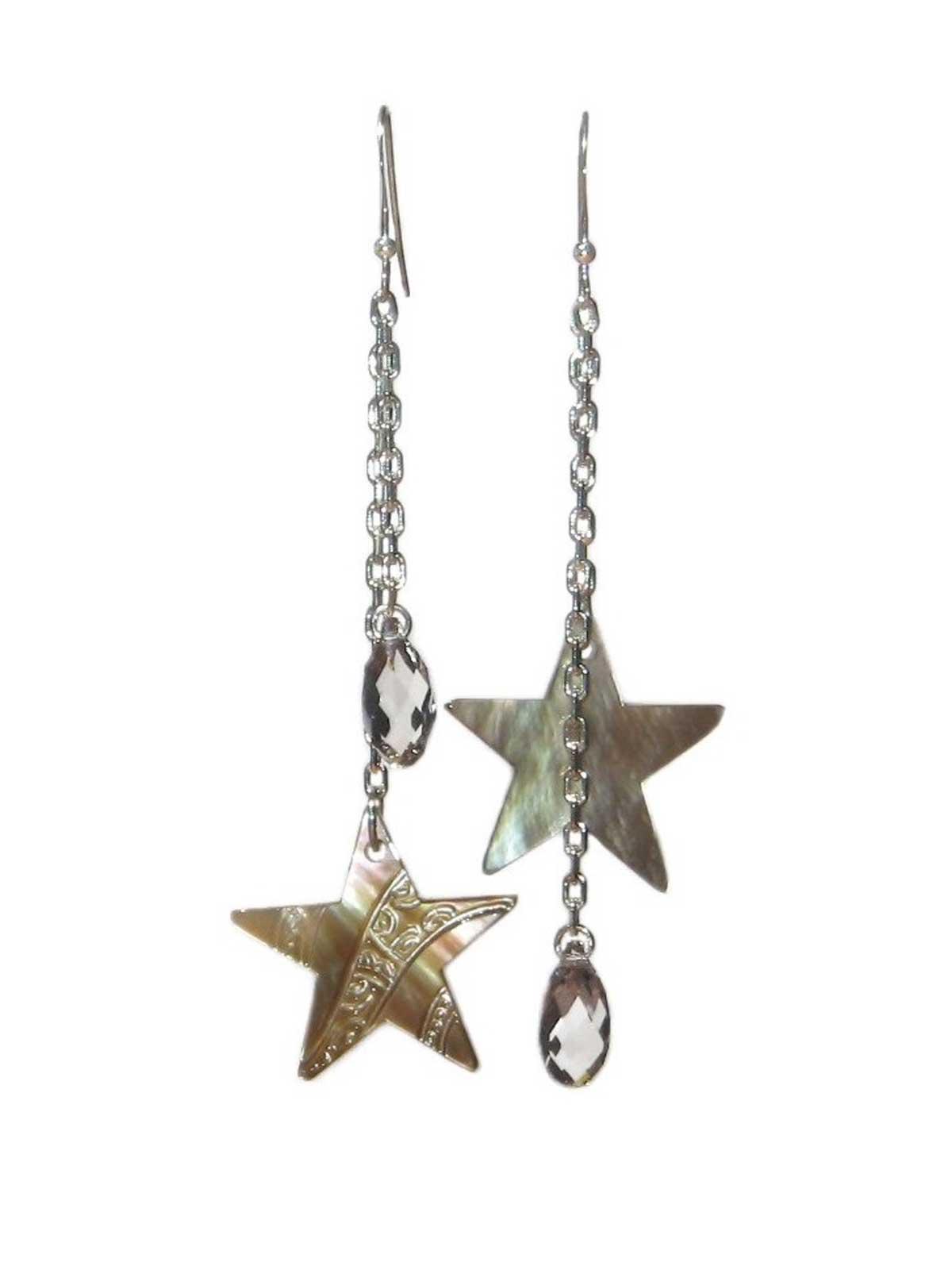 Earrings in Sterling Silver star Mother-of-pearl of Tahiti Crystal of Swarovski