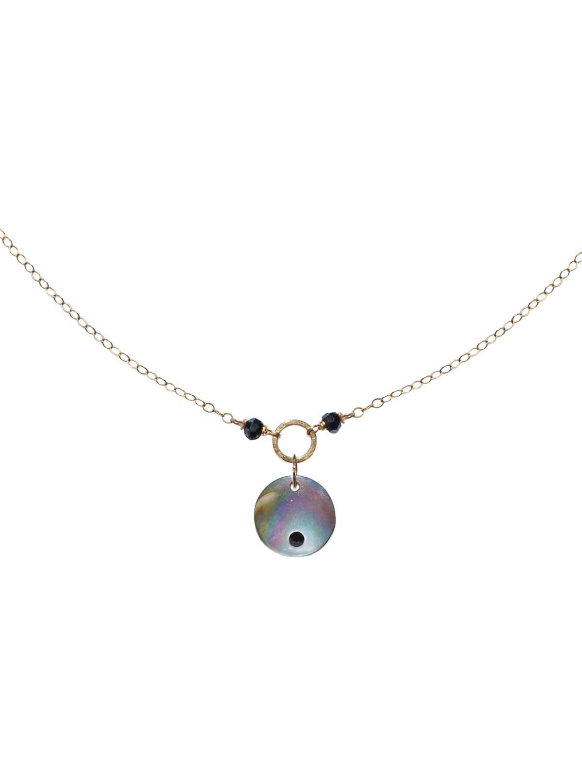 Collier chaîne Or 14 Carats Gold-filled Spinelles Noirs facettés Pendentif nacre de Tahiti cristal