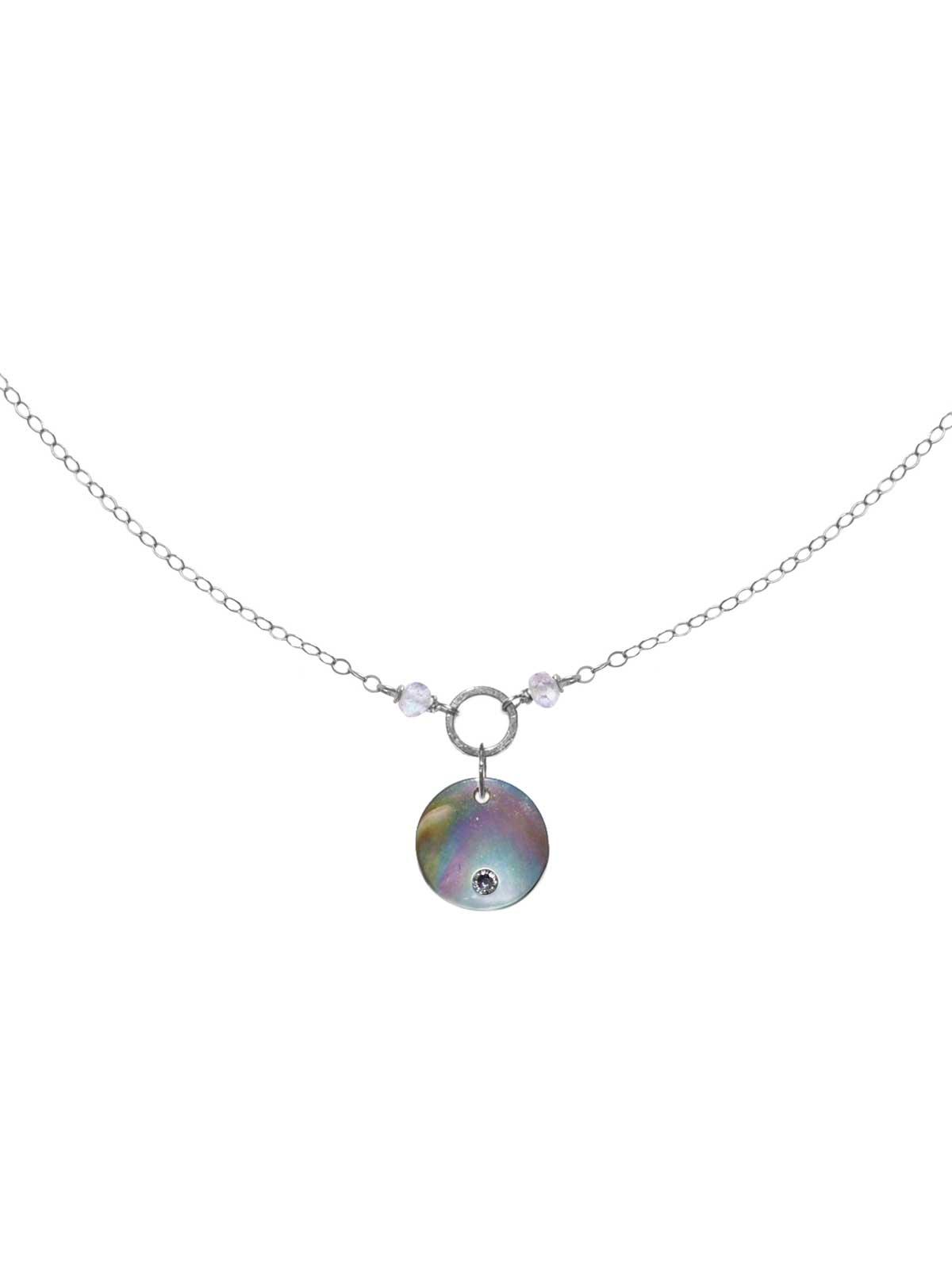 Collier chaîne Argent 925/1000 Pierres de Lune nacre cristal