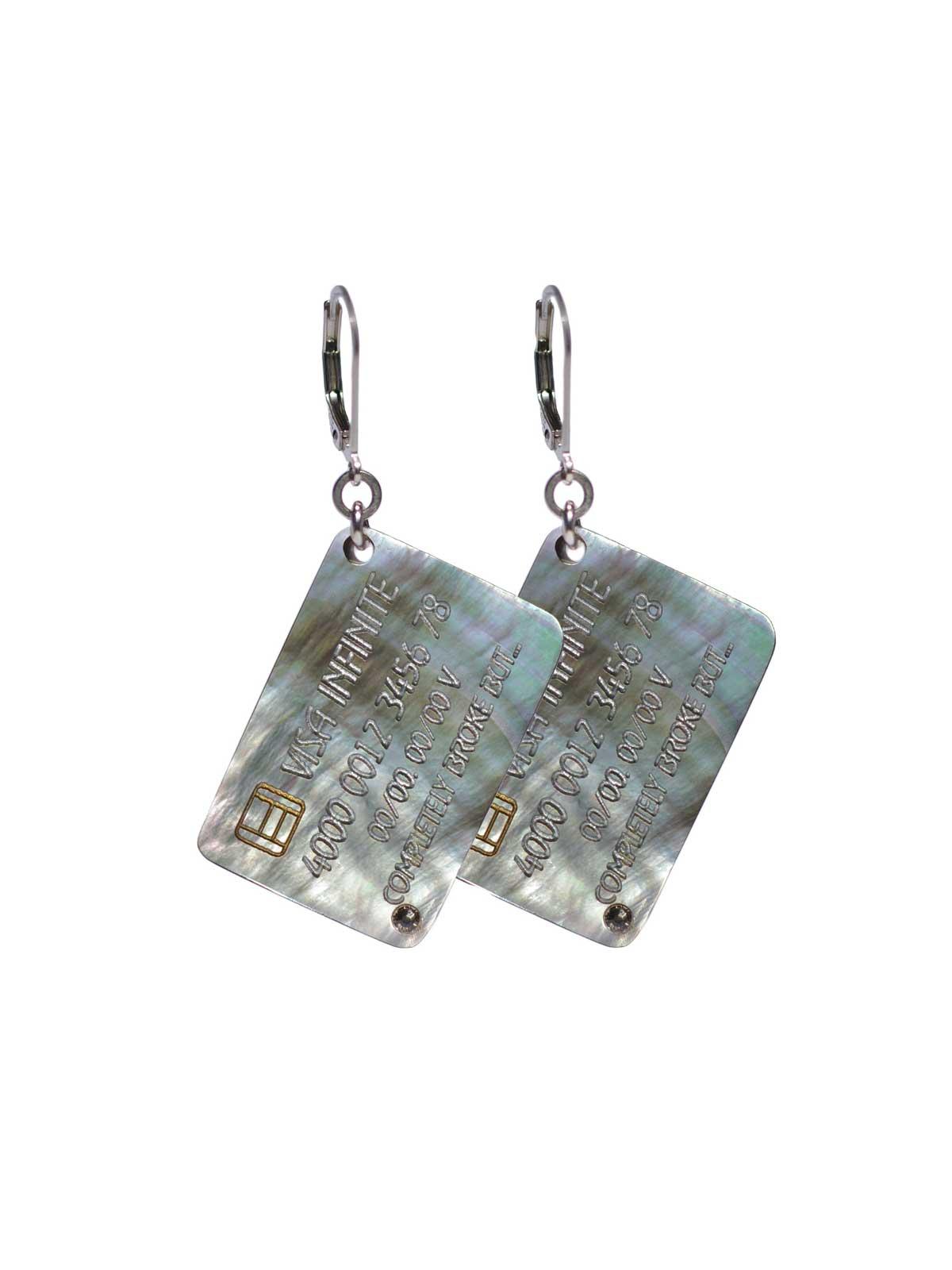 Sterling Silver lever back earrings Mother-of-pearl Swarovski crystal