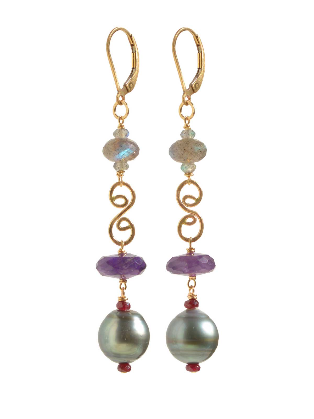 Delanacre, Tahitian Pearl AMAZON EARRINGS 14K Yellow Gold