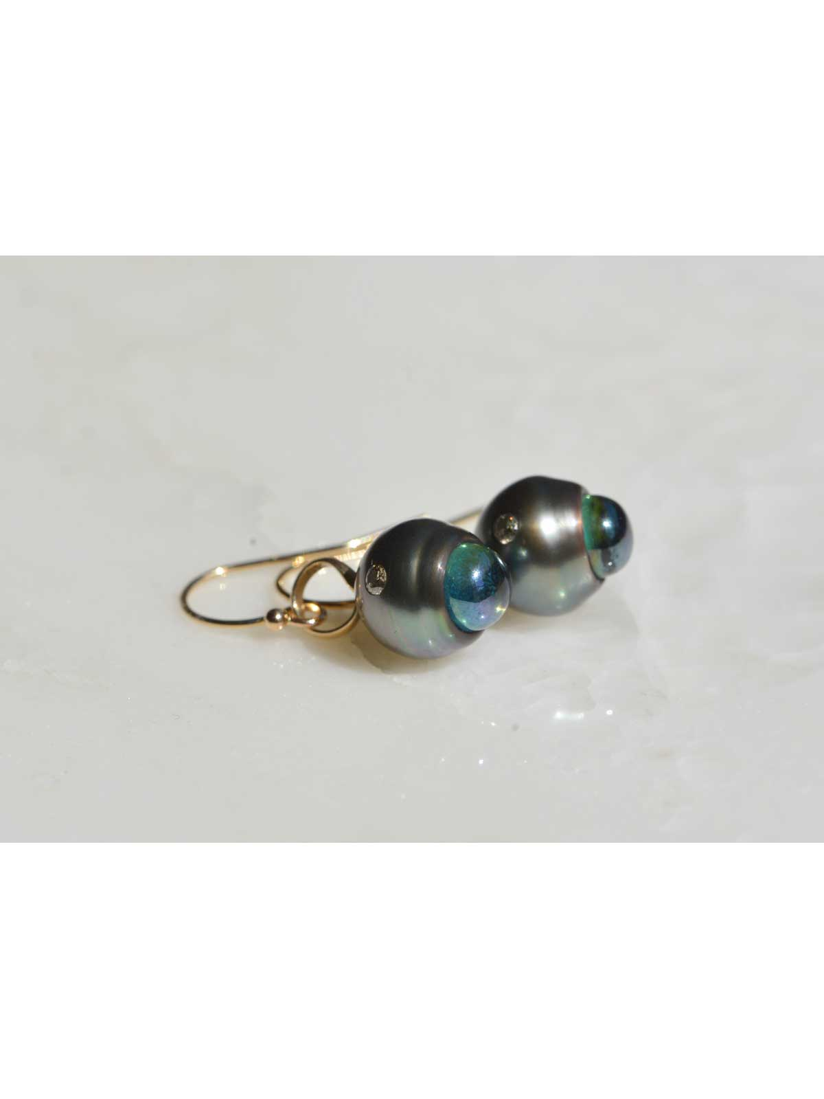 boudoir earrings Tahitian Pearl topaz diamond 14K yellow gold