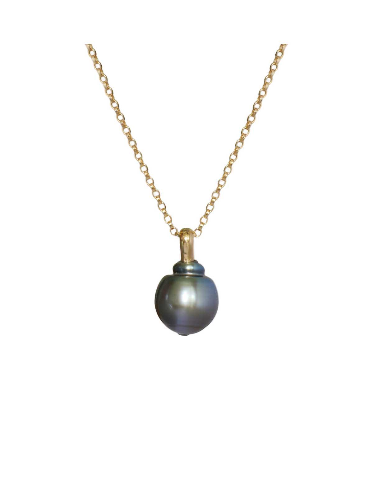 boudoir pendentif perle de tahiti Diamant or jaune 14 carats