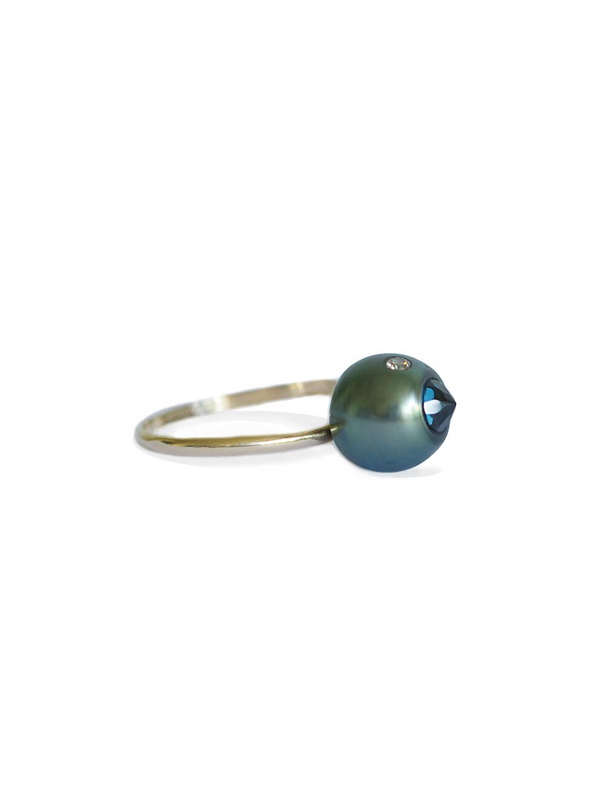 Boudoir ring Tahitian Pearl Topaz Brown Diamond 14K yellow gold