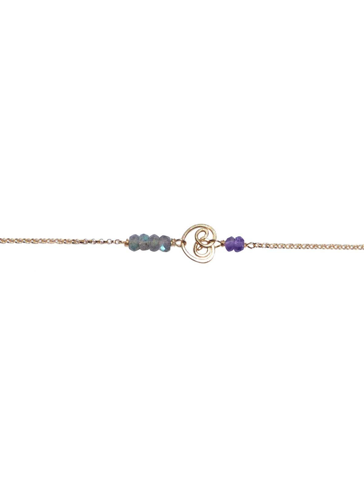 Bracelet Or Labradorite et Amethyste