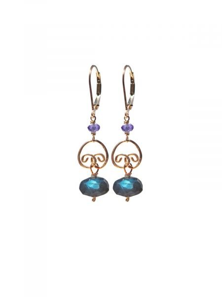 Gold lever back earrings Labradorite Amethyst
