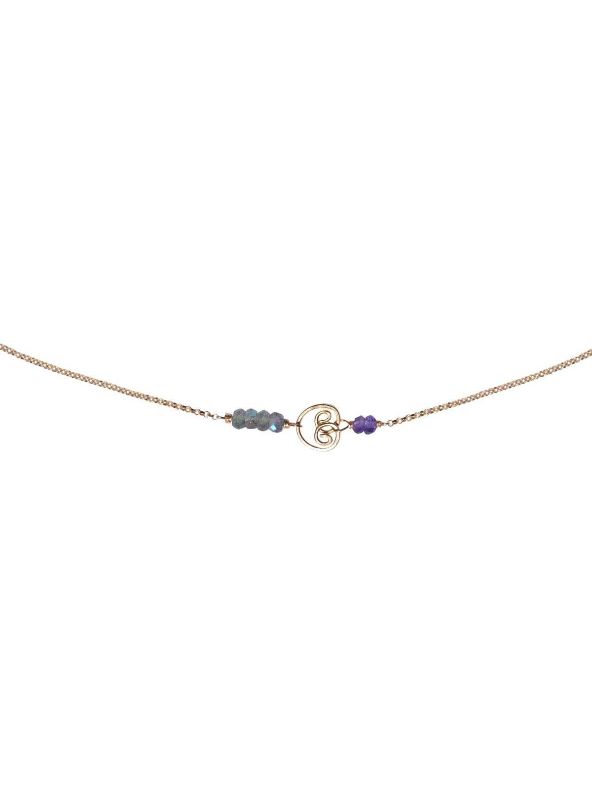 Buddha Necklace gold Labradorite Amethyst