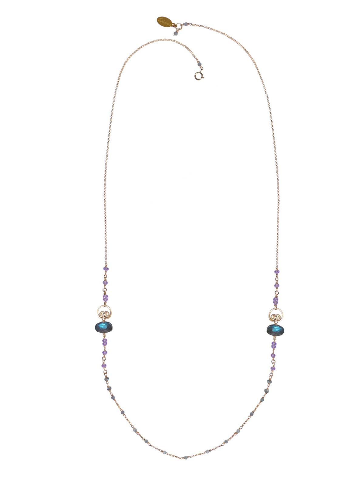 Buddha long Necklace gold Labradorite Amethyst