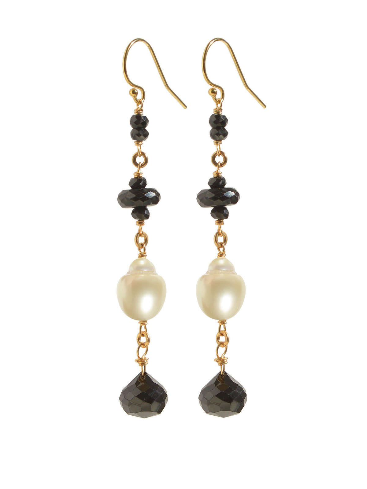 Delanacre, South Sea Pearl CAVIAR EARRINGS 14K Yellow Gold