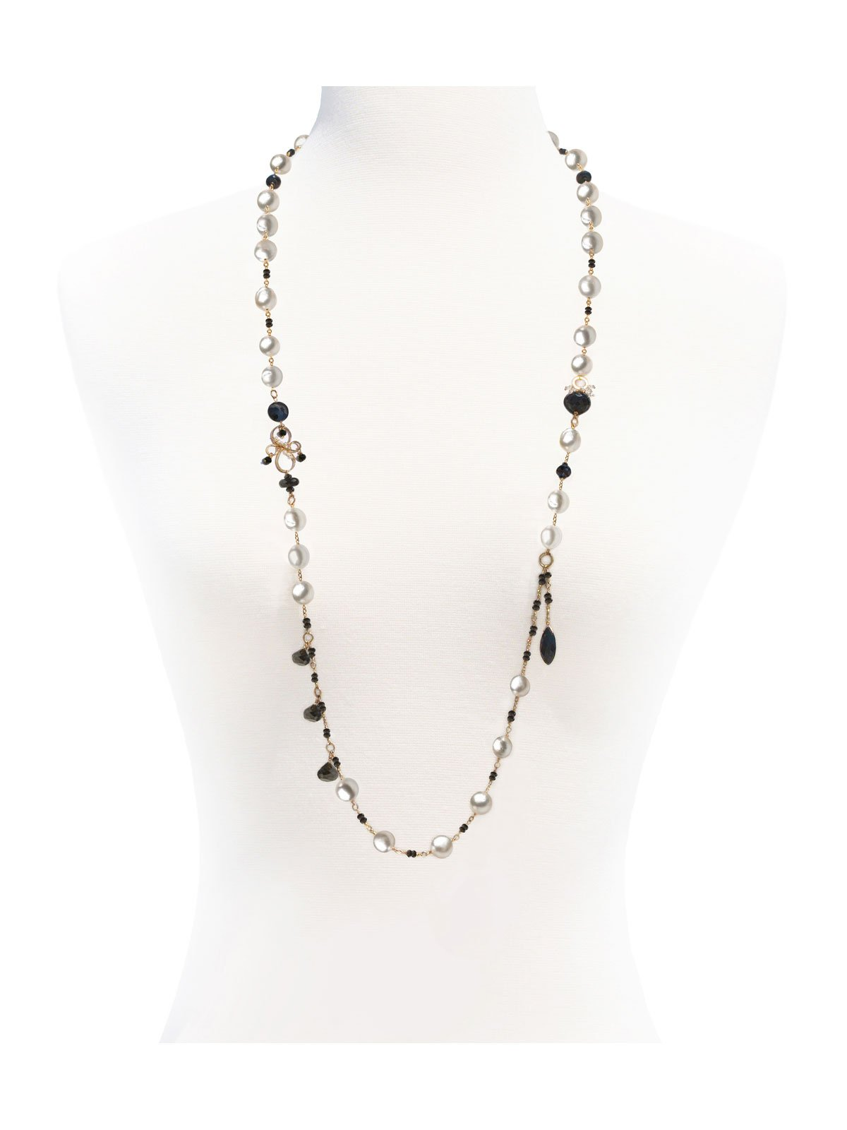 Delanacre, South Sea Pearl CAVIAR LONG NECKLACE 14K Yellow Gold