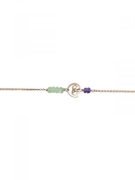 Bracelet Or Prehnite et Amethyste