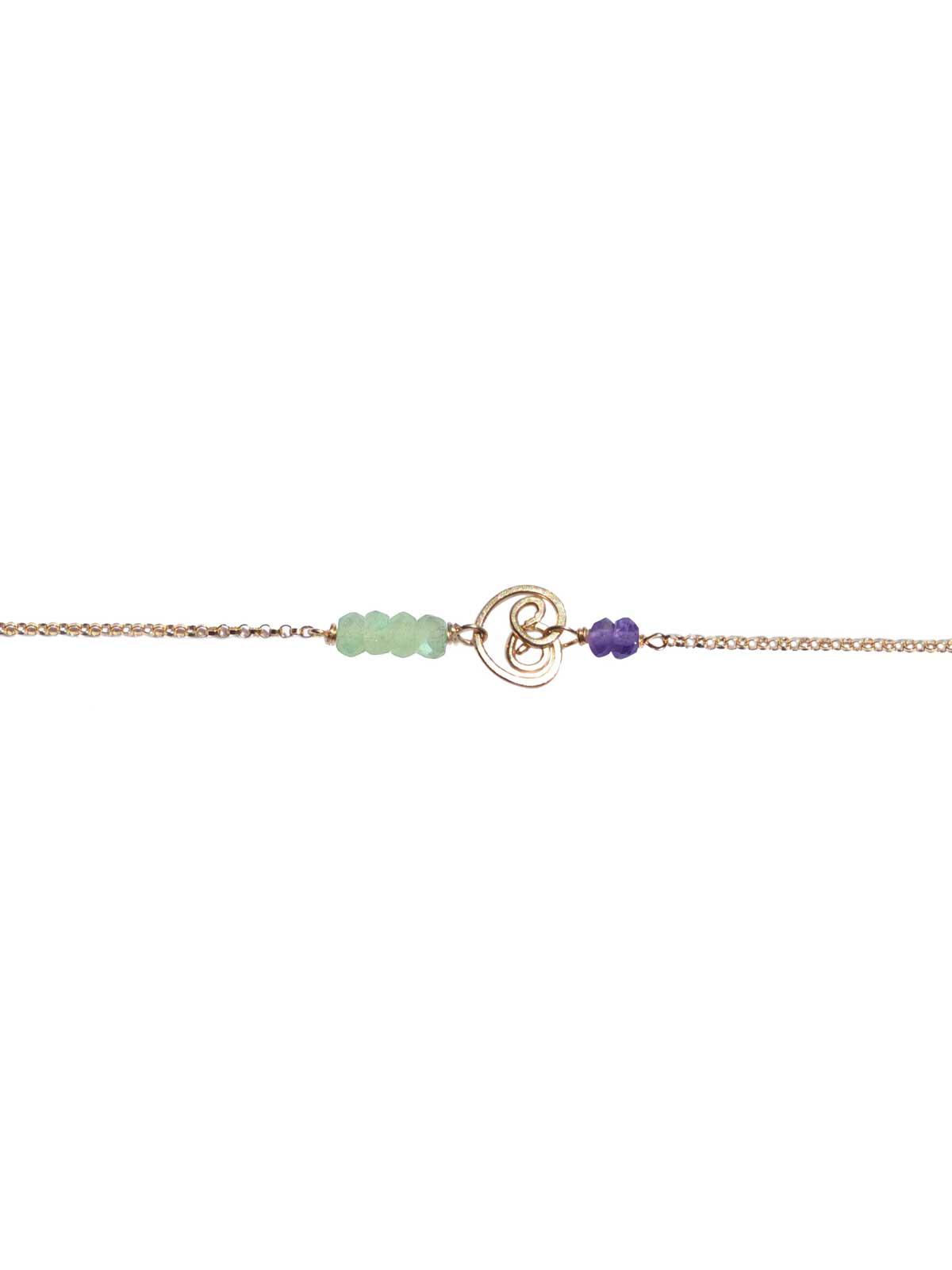 Bracelet Gold Prehnite Amethyst