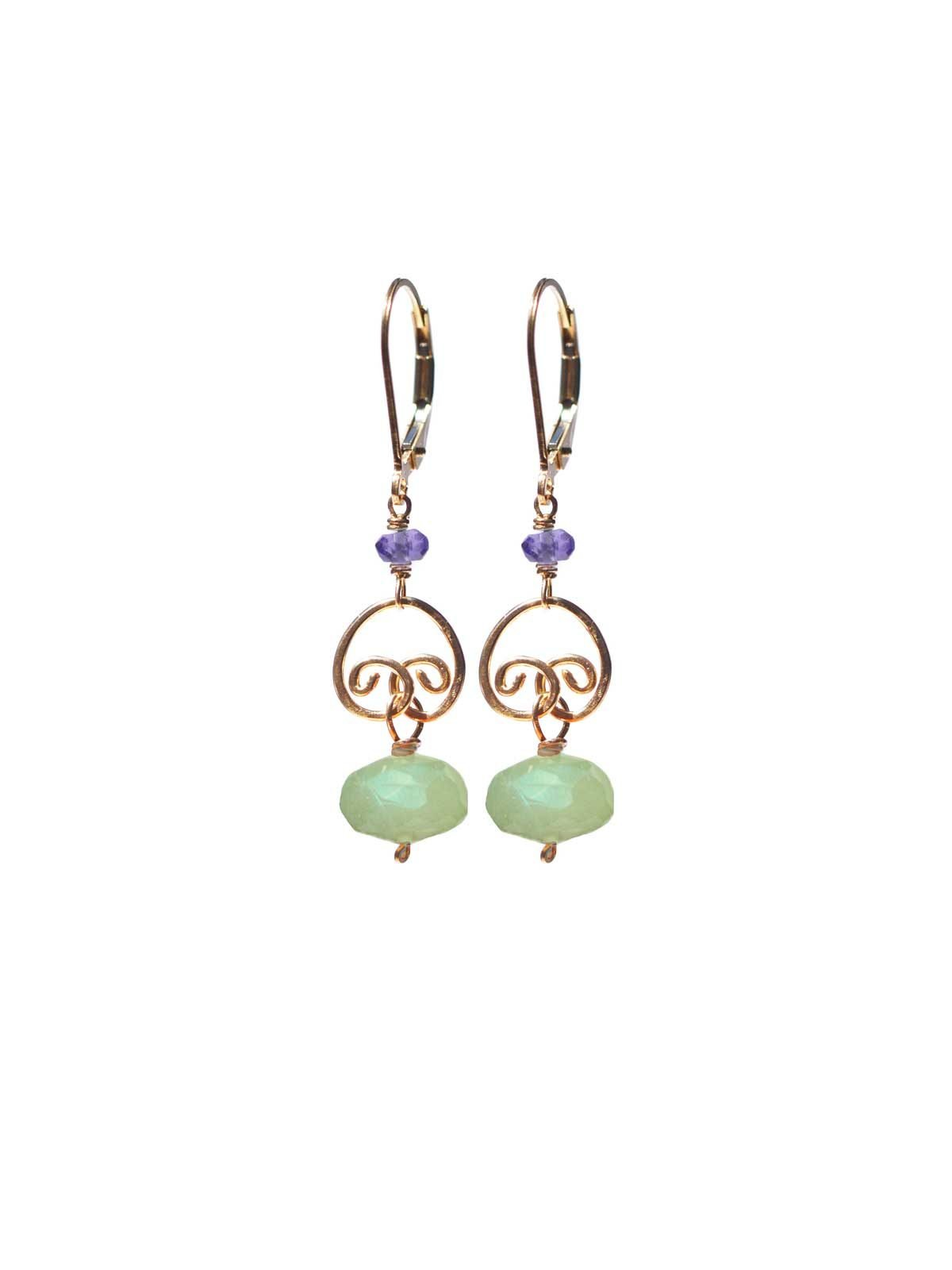 Gold lever back earrings Prehnite Amethyst