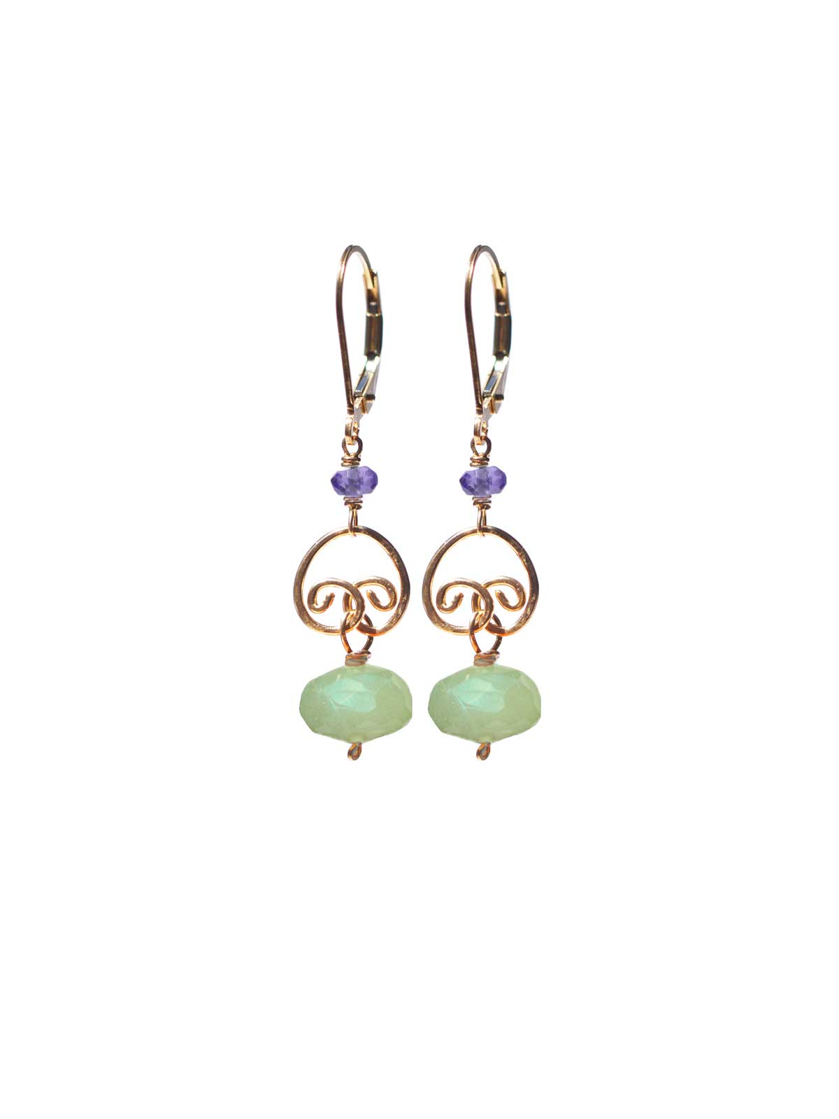 cocktail Dormeuses Or Prehnite Amethyste