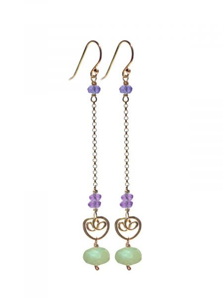 Cocktail Long Earrings Gold Prehnite Amethyst