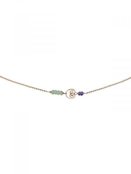 Cocktail Necklace Gold Prehnite Amethyst
