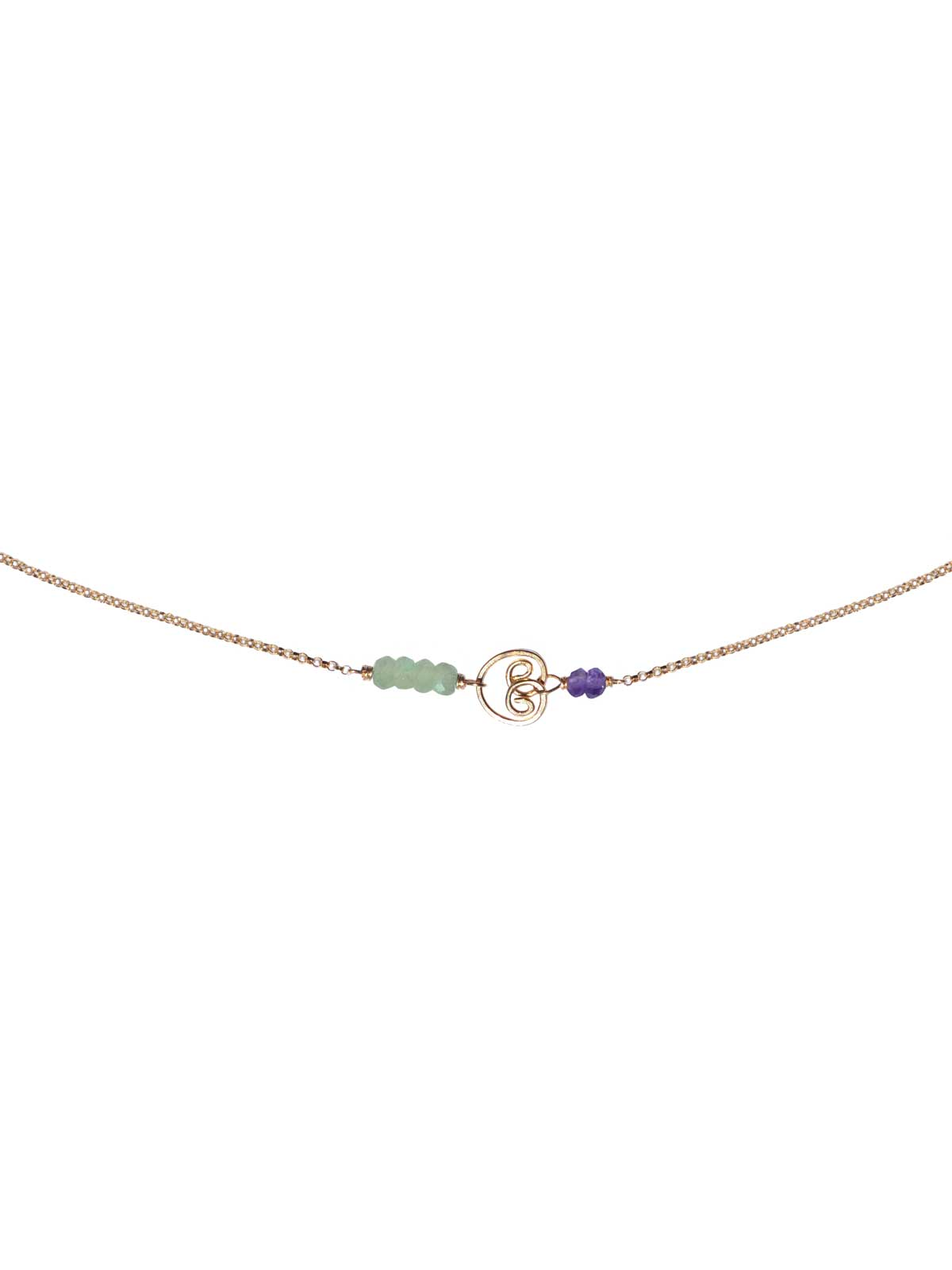 Cocktail Collier Or Prehnite Amethyste