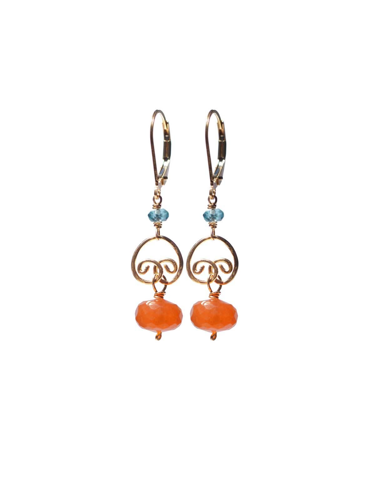 CORAIL Earrings gold Carnelian with Apatite