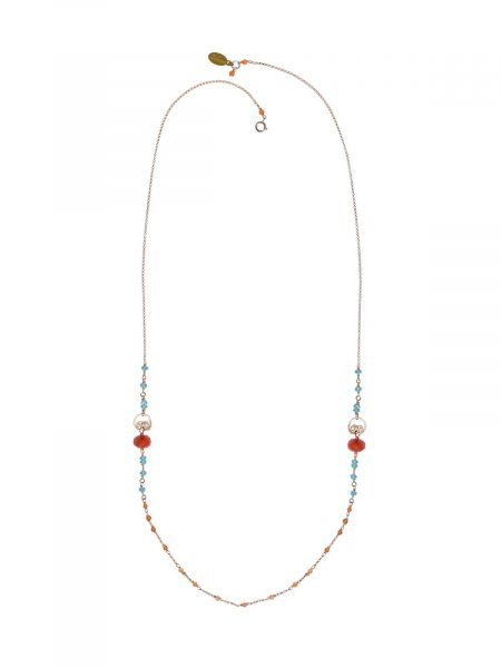 corail Long Necklace gold Carnelian Apatite