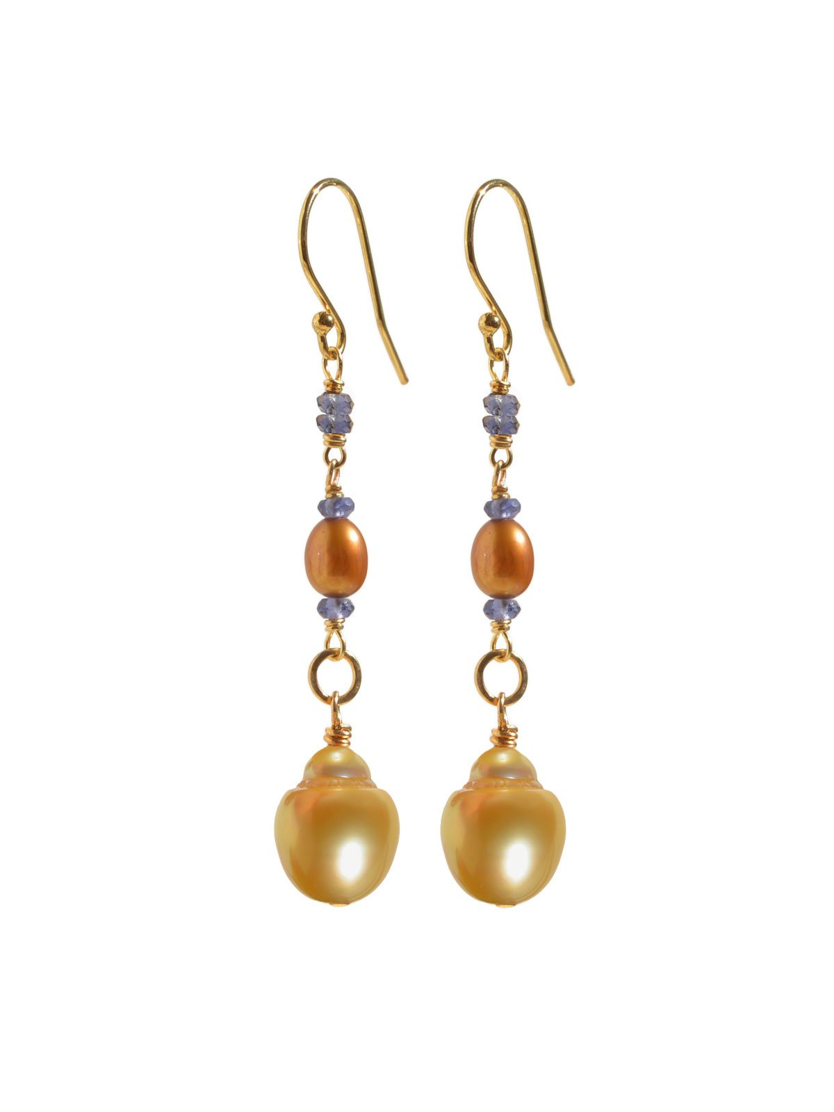 Delanacre, South Sea Pearl DIVINE EARRINGS 14K Yellow Gold