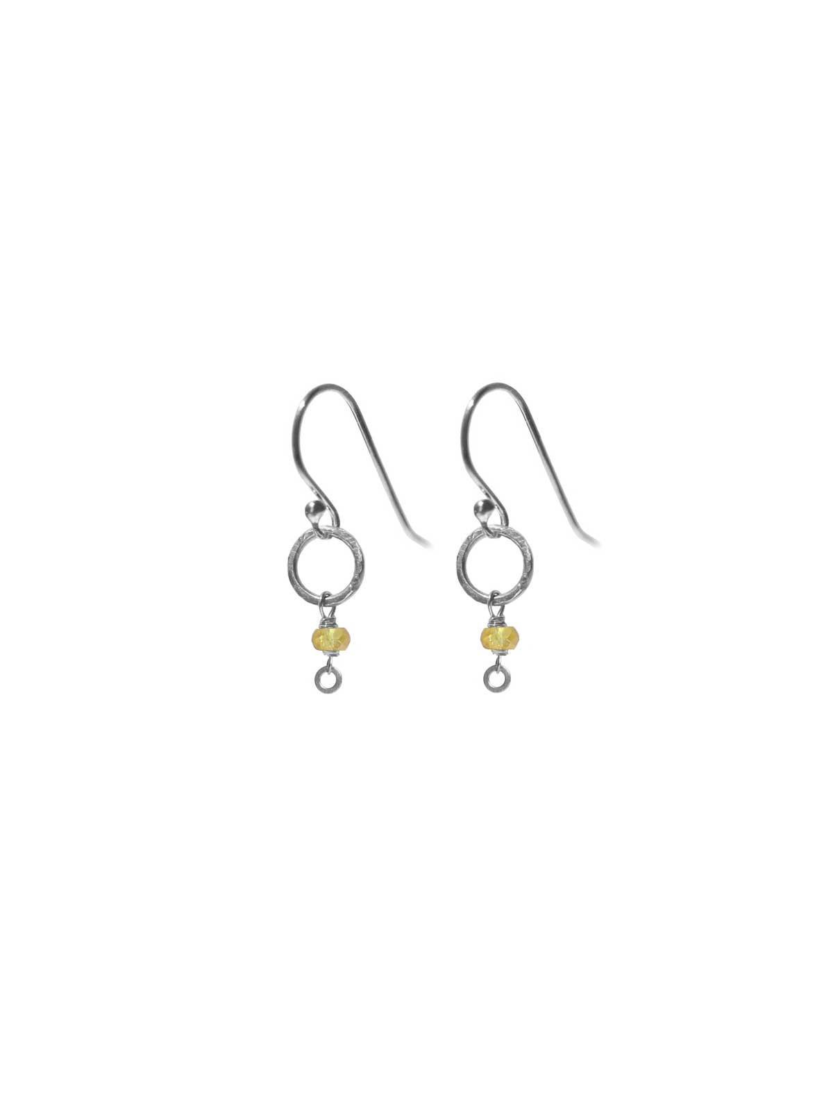 Earrings Sterling Silver and Yellow Orange Sapphire