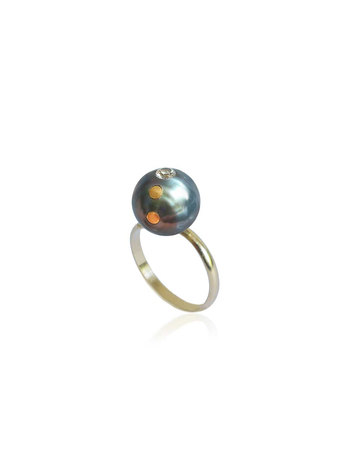 galaxy ring Tahitian Pearl Diamond 14K yellow gold