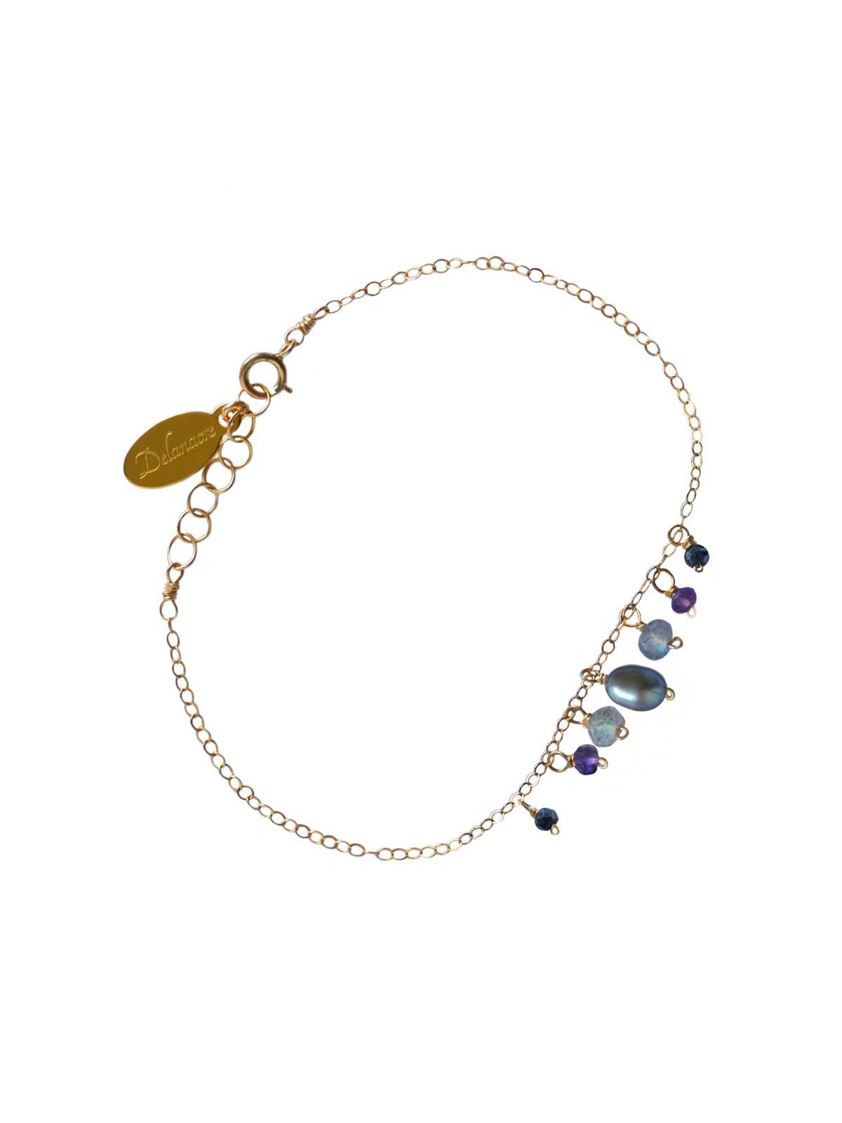 Bracelet in Gold-filled 14 Karat chain Labradorite Black Spinel Amethyst gray Freshwater Pearl