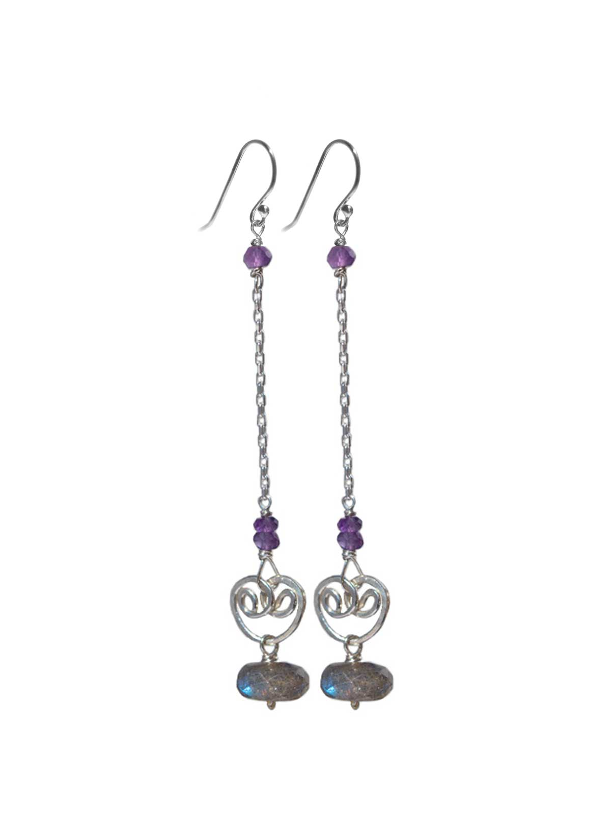 Earrings in Sterling Silver buddha Labradorite Amethyst