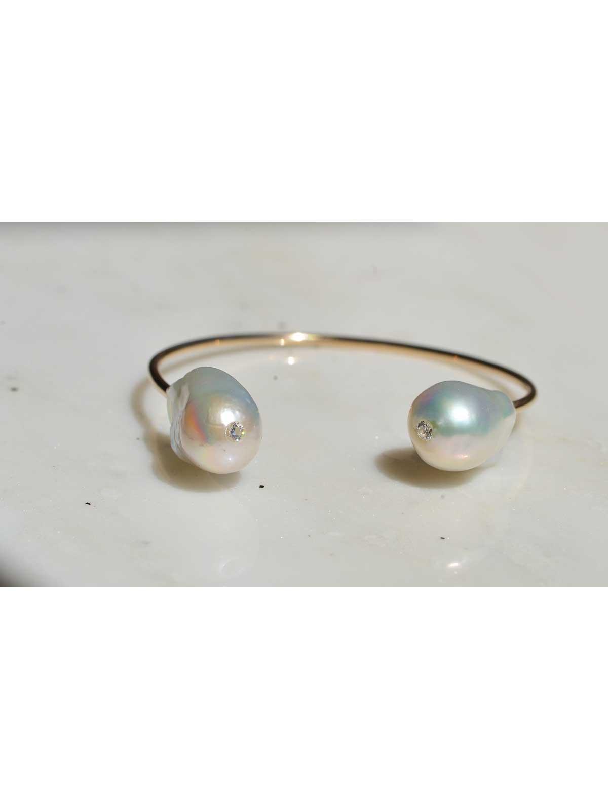 Luna Cuff Bracelet Baroque Freshwater Pearl Diamond 14K yellow gold
