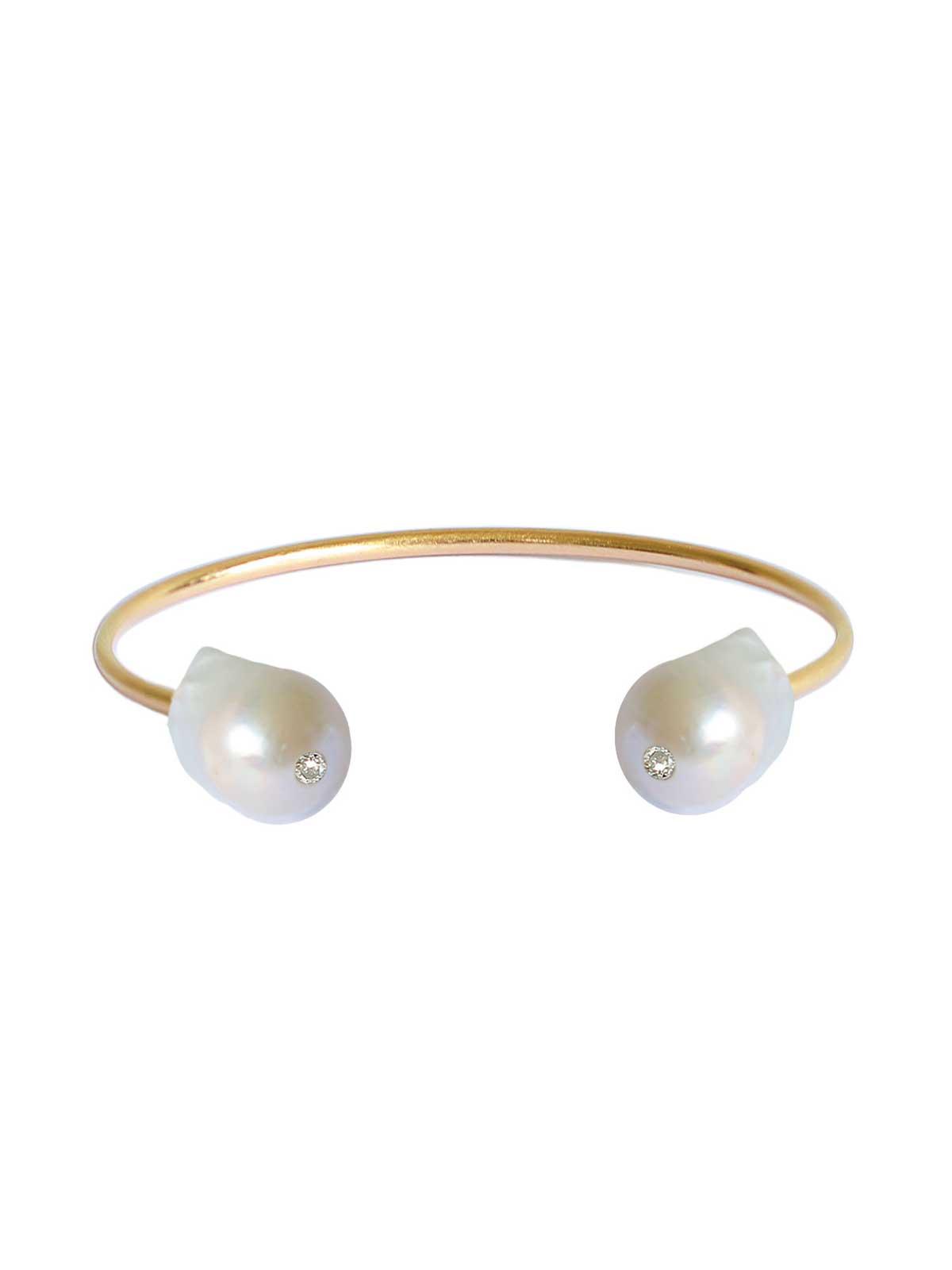 Luna Jonc Bracelet Perle d'eau douce baroque blanche Diamant or jaune 14 carats