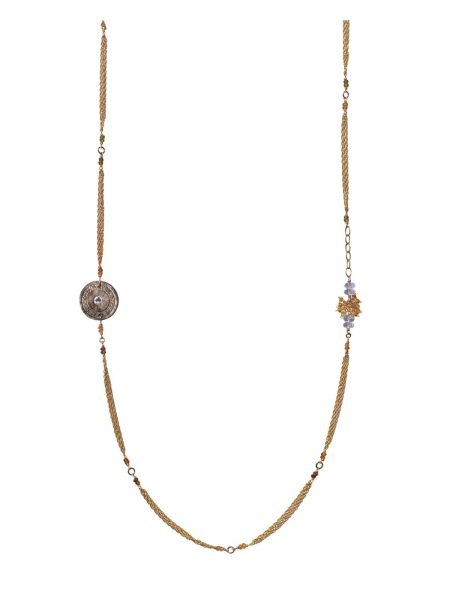 melody long necklace gold mother-of-pearl tourmalines amethyst