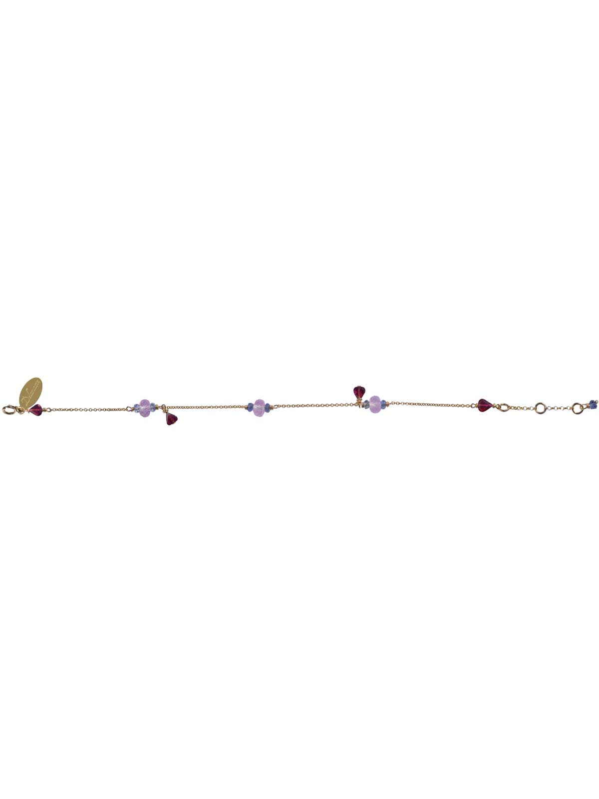 Bracelet Gold and Garnet Iolite Amethyst
